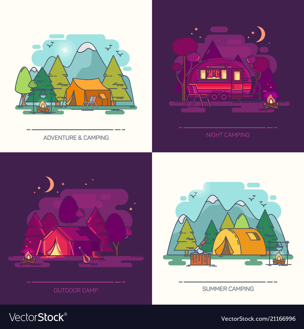 Set of outdoor day or night view on camp in forest