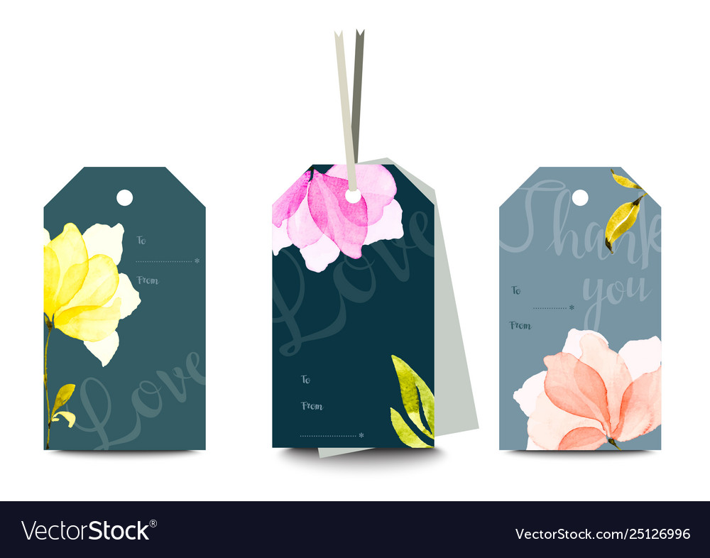 Set romantic tags with hand drawn watercolor