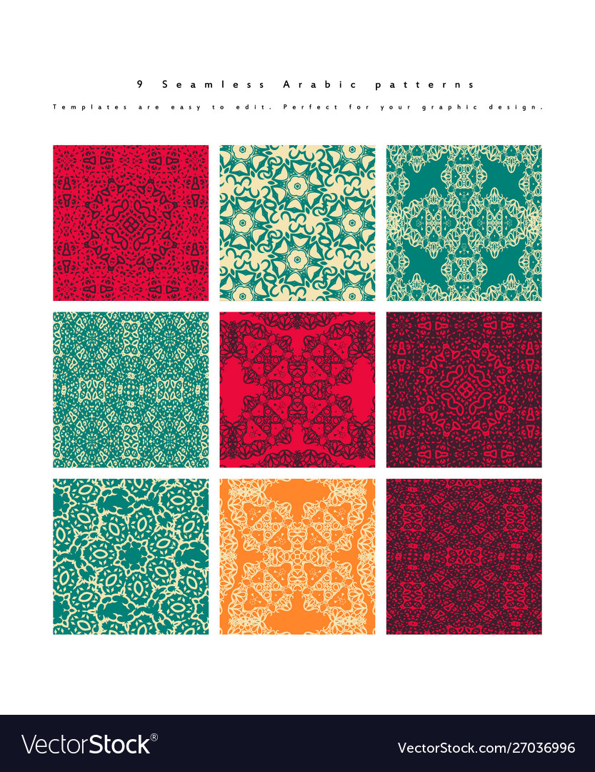 Set seamless moroccan pattern