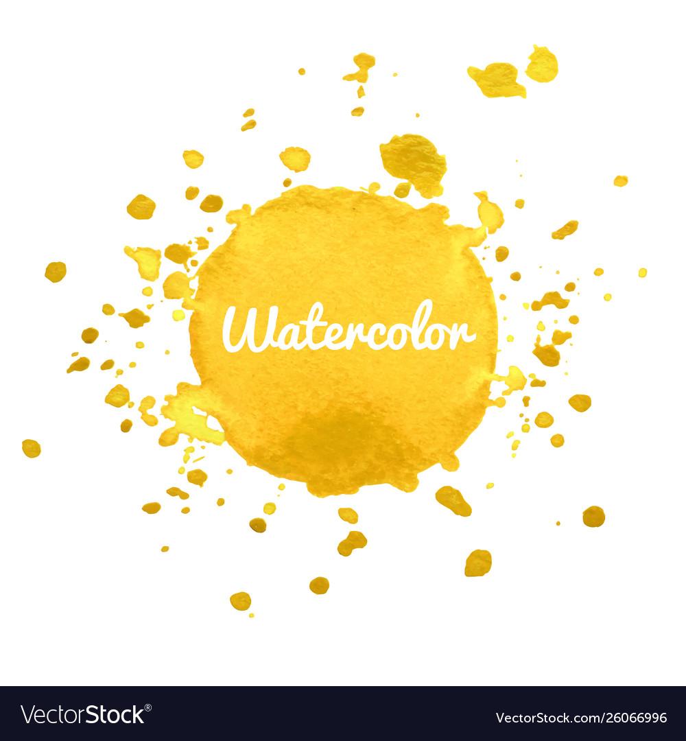Yellow watercolor hand draw splash background