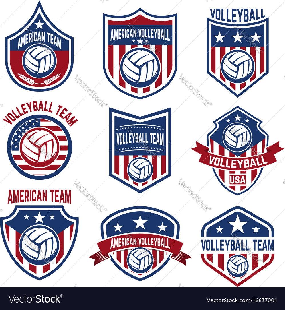 American volleyball team labels design elements