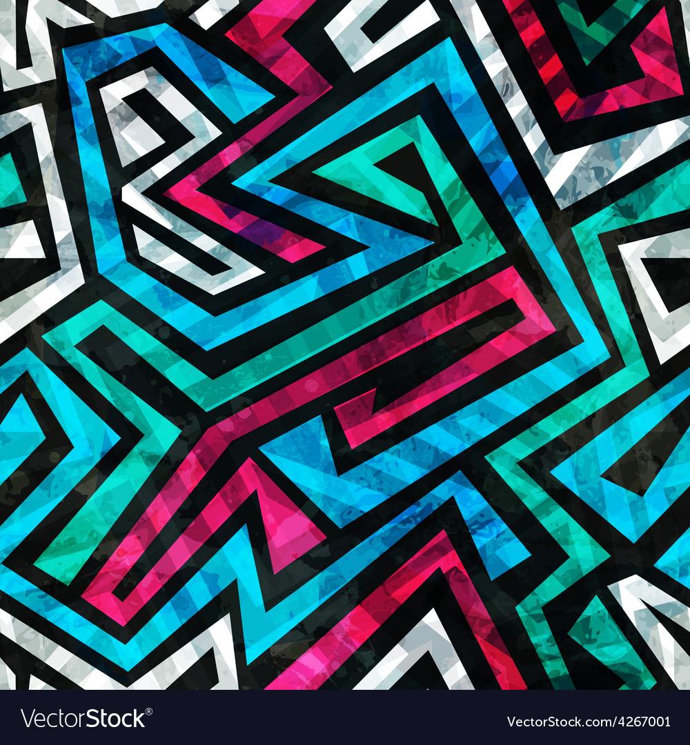 Blue labyrinth seamless pattern