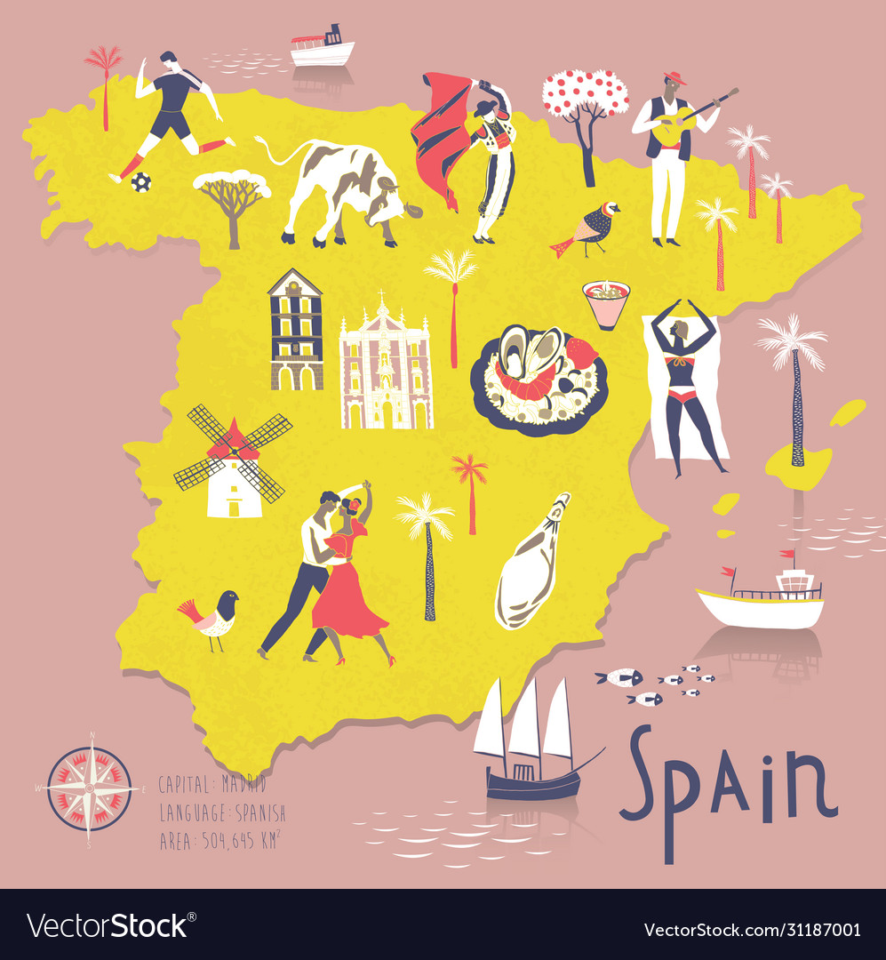 Cartoon map spain with legend icons