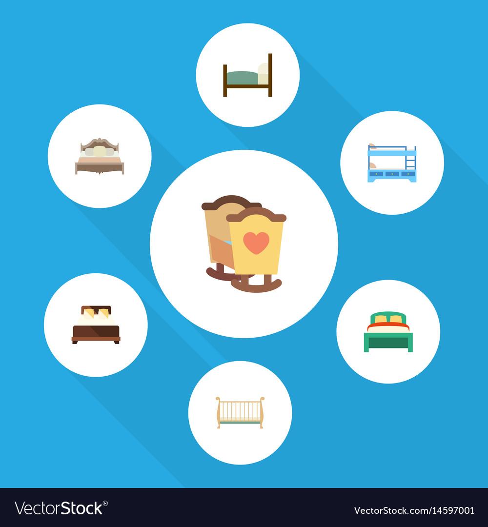 Flat bedroom set of bedroom bunk bed crib and vector image