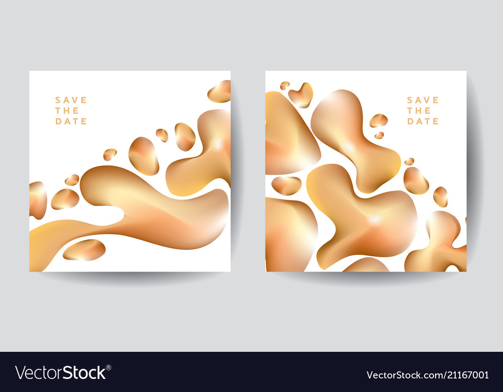 Gold organic shapes poster template