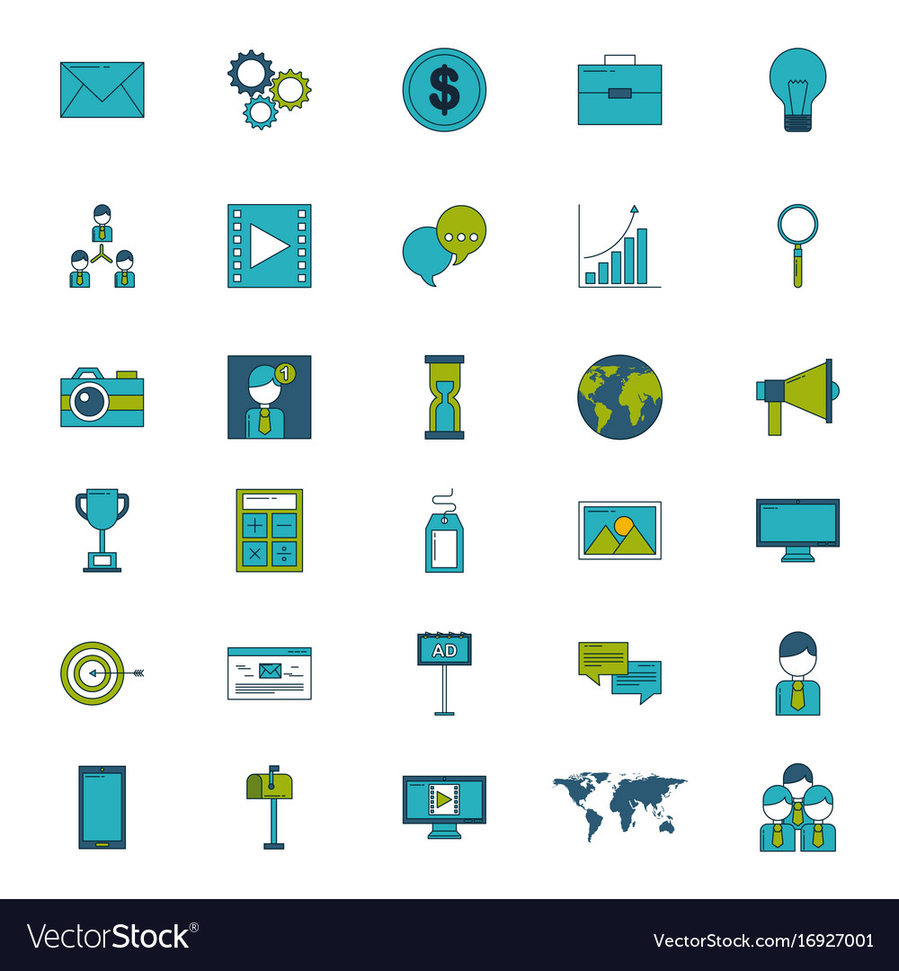 Icon set digital marketing