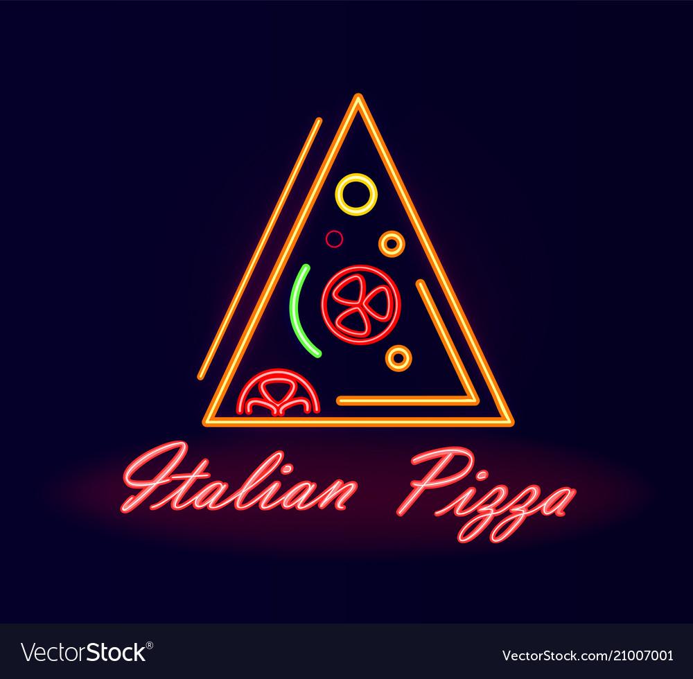 Italian pizza restaurant neon street signboard