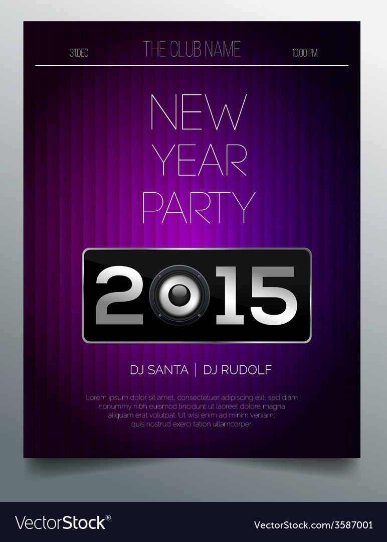 new year party flyer template purple and silver vector image