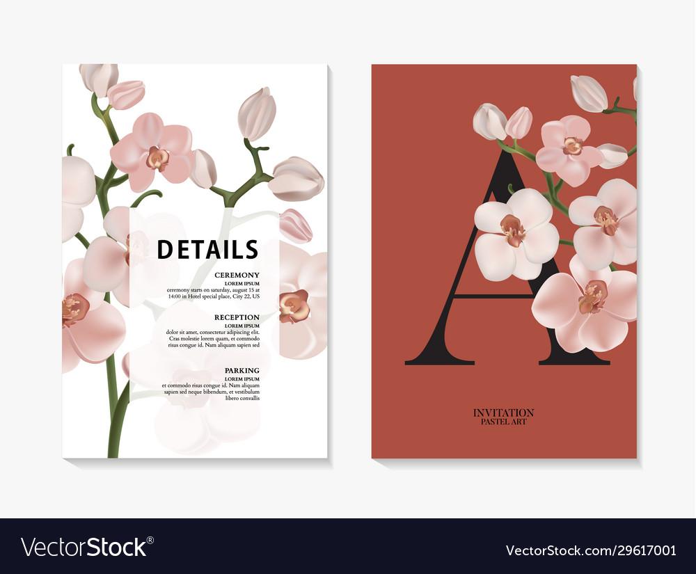 Orchid watercolor branch design invitation card
