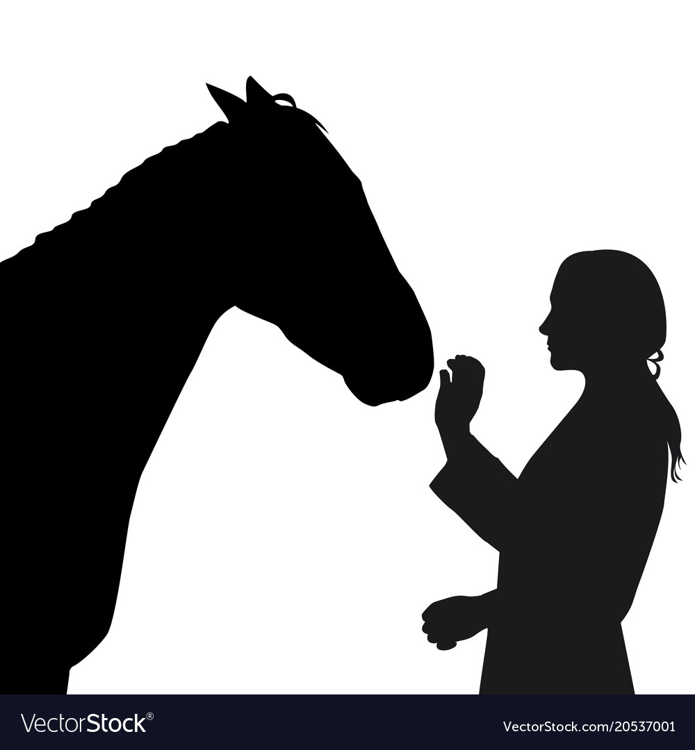 Silhouette of girl with horse on white background