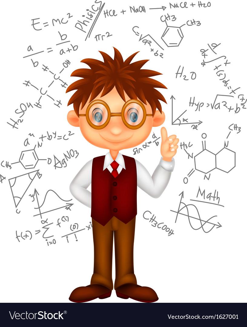 Math thinking cartoon vector images 32