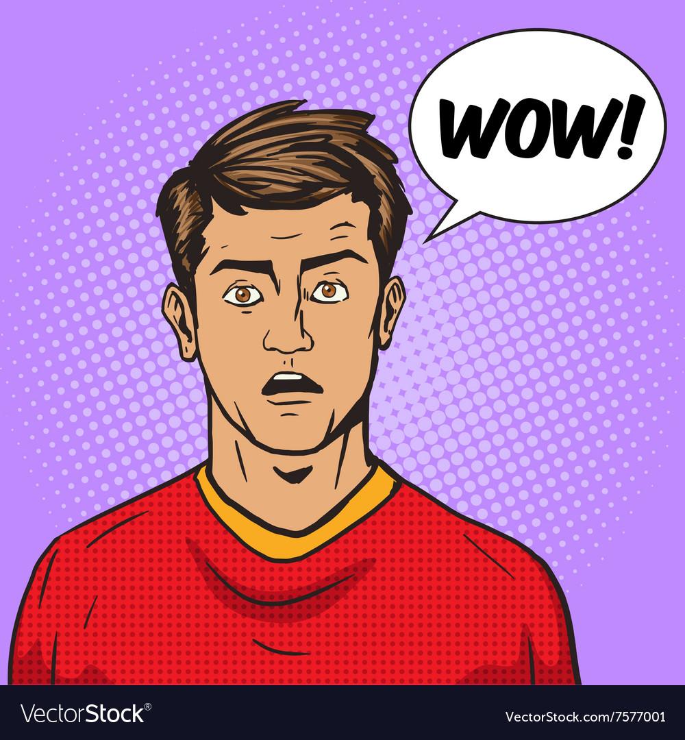 Surprised man pop art style vector image