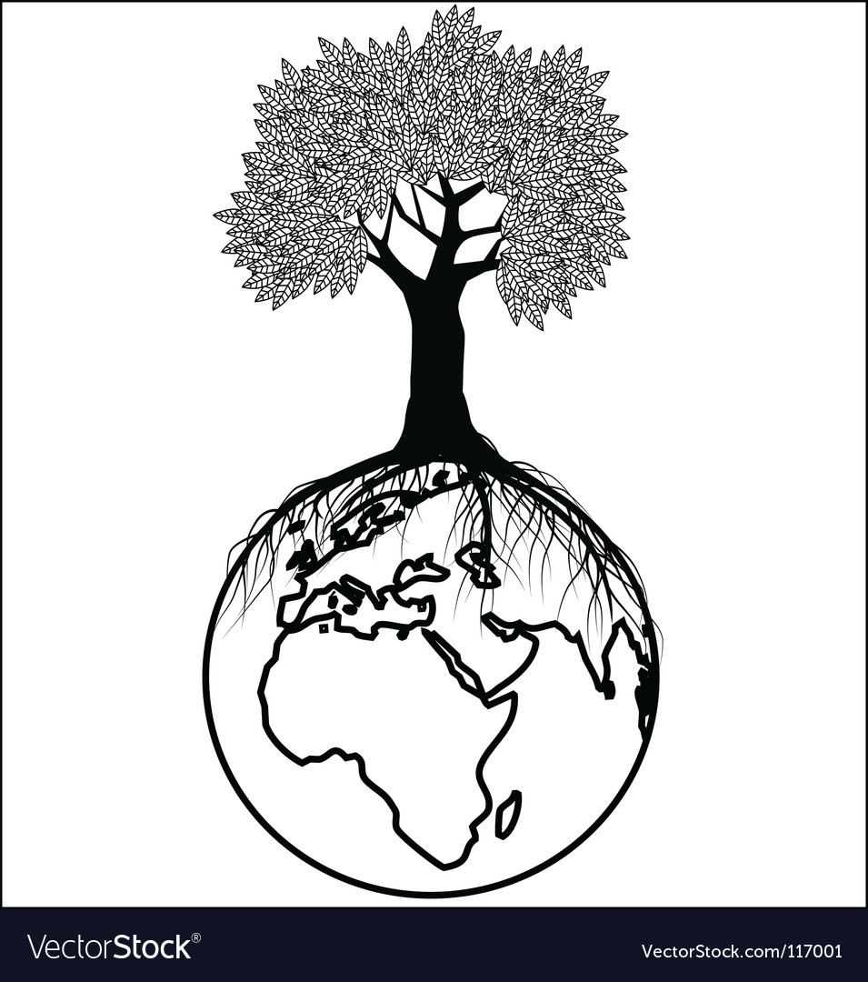 Tree silhouette on earth