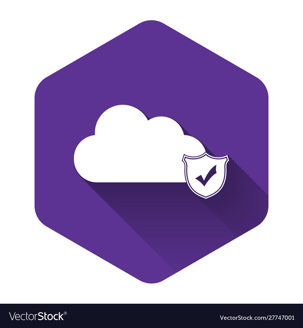 White cloud and shield with check mark icon