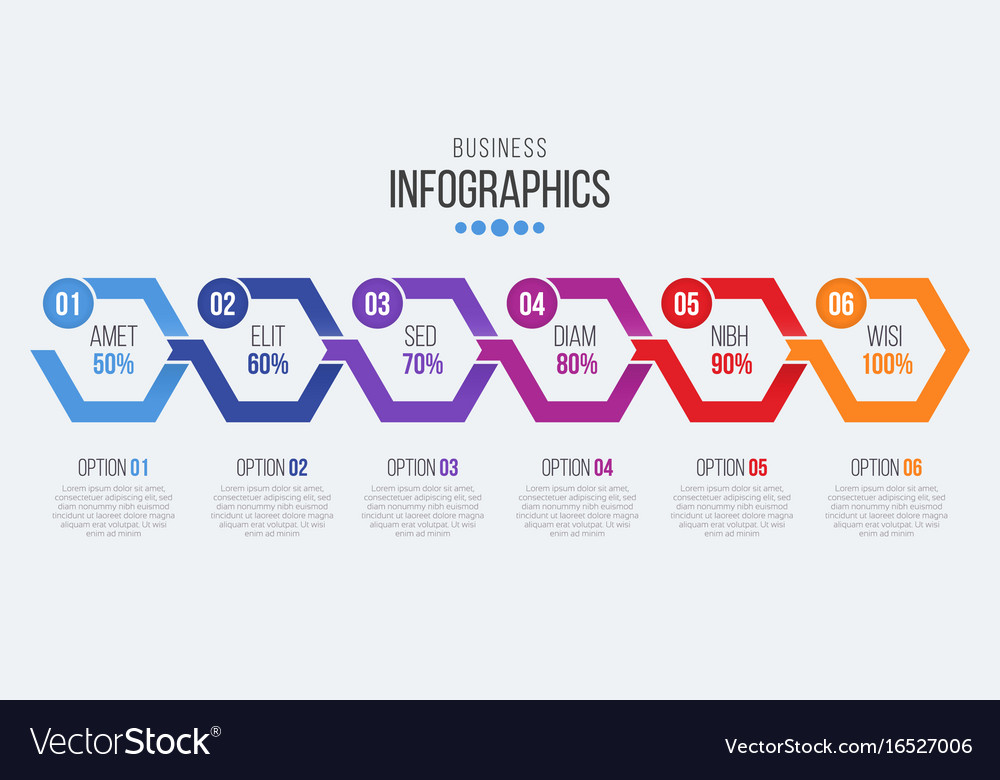 6 steps timeline infographic template with arrows