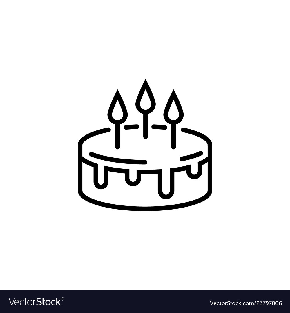 Cake line icon isolated on a white background pie