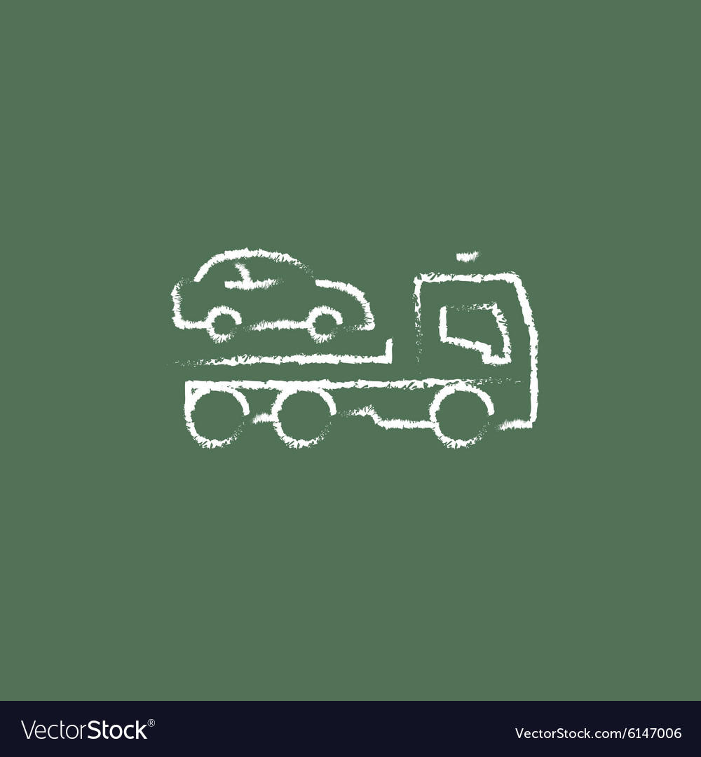 Car towing truck icon drawn in chalk