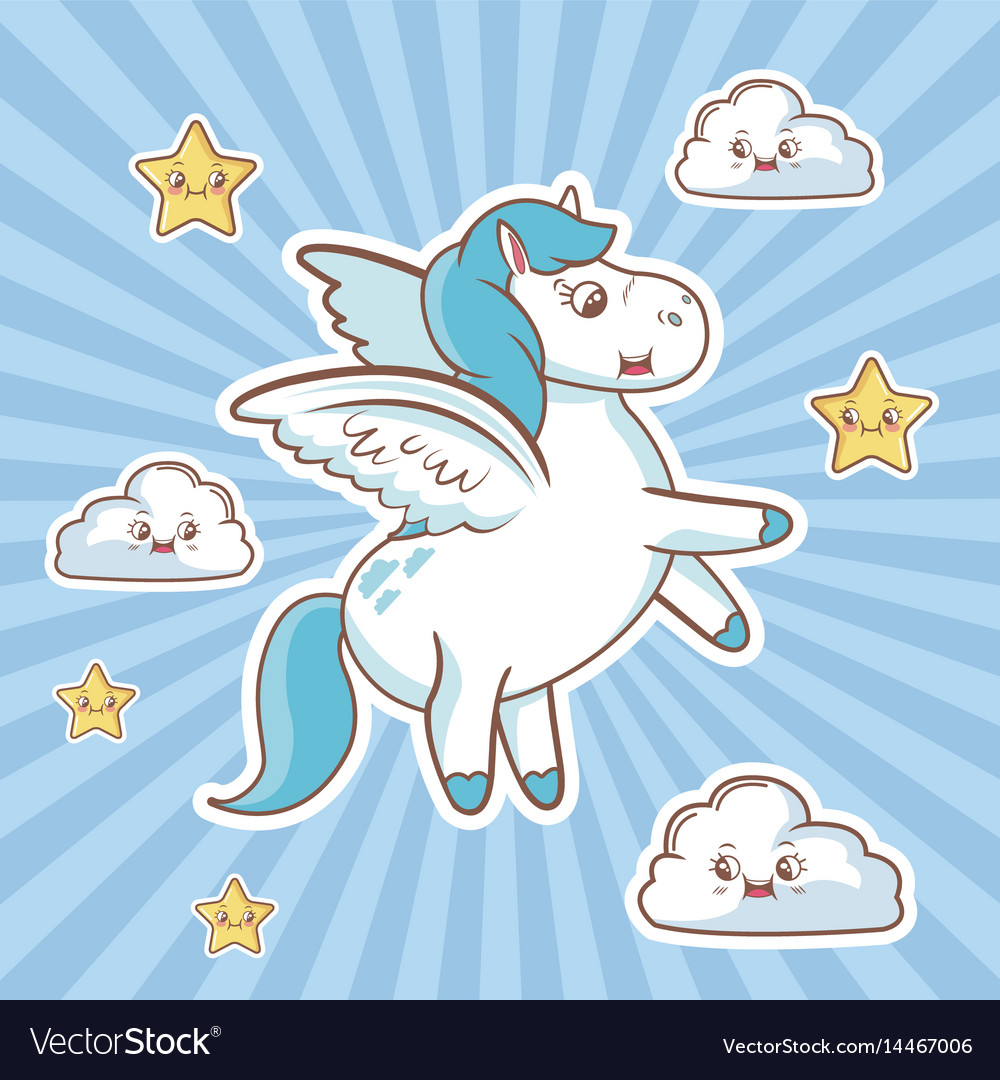 Flying Unicorn Card Cloud Stars Fantasy Desing