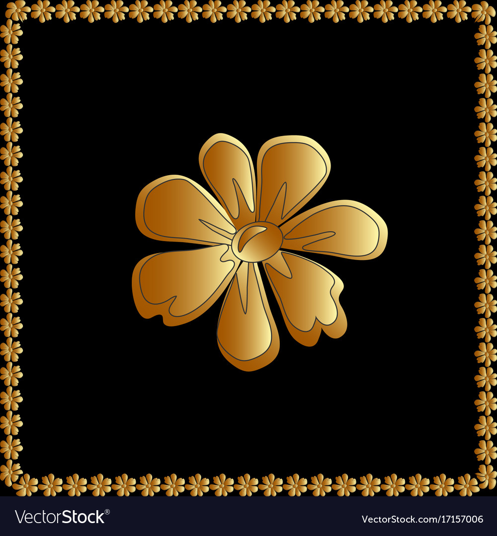 Golden of flower floral element for vector image