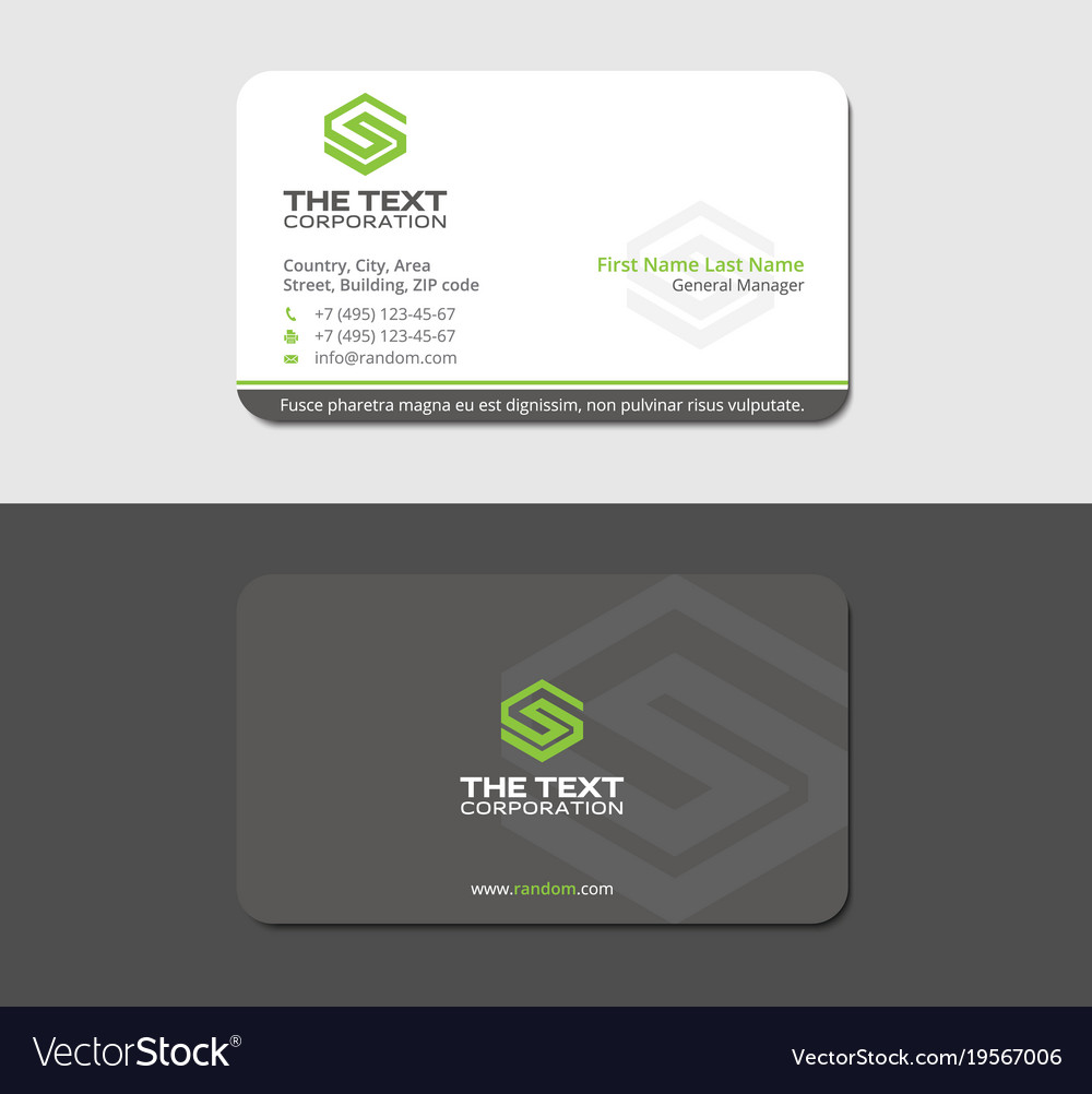 Gray business card with green letter s royalty free vector gray business card with green letter s vector image reheart Images