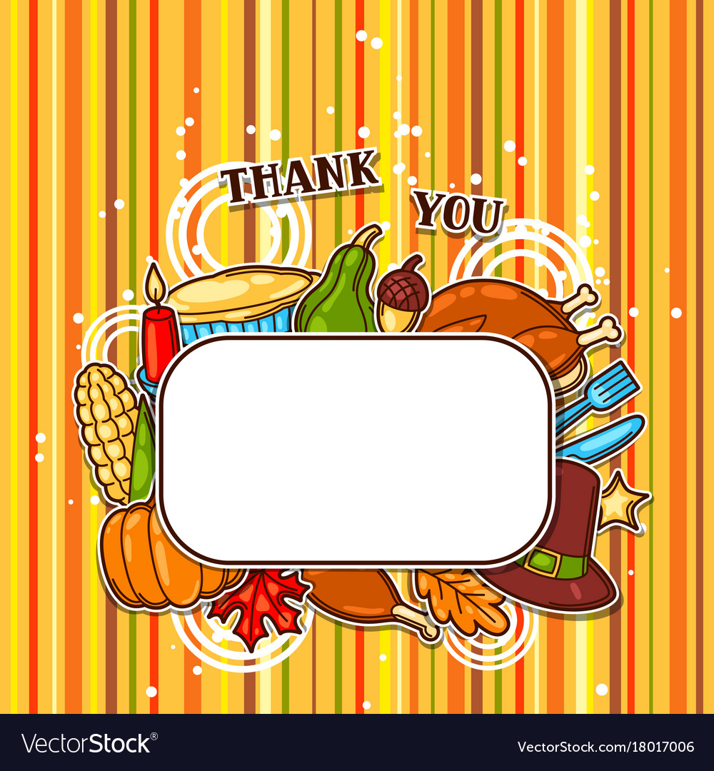 Happy thanksgiving day frame with holiday objects Vector Image