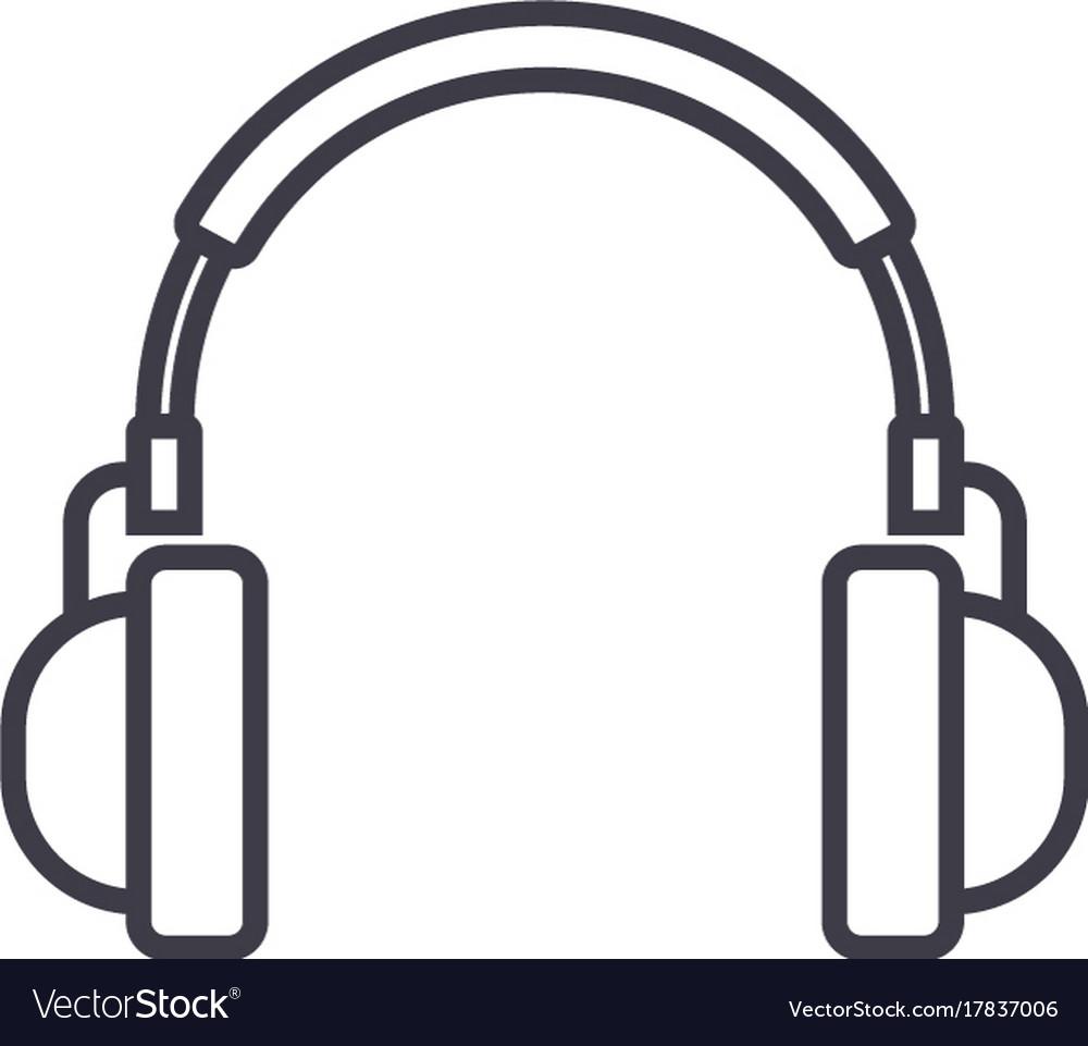 Headphones line icon sign on