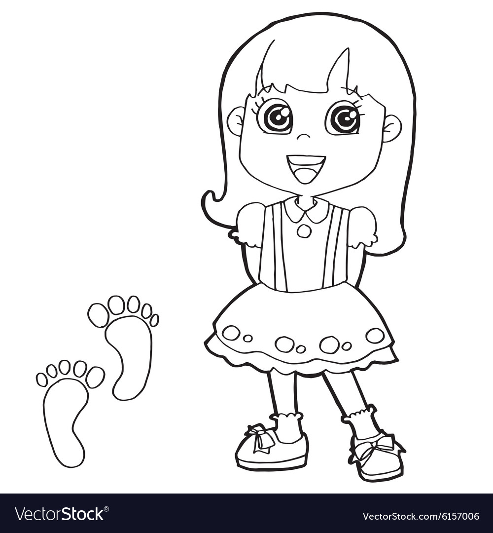 Kid with paw print Coloring Pages