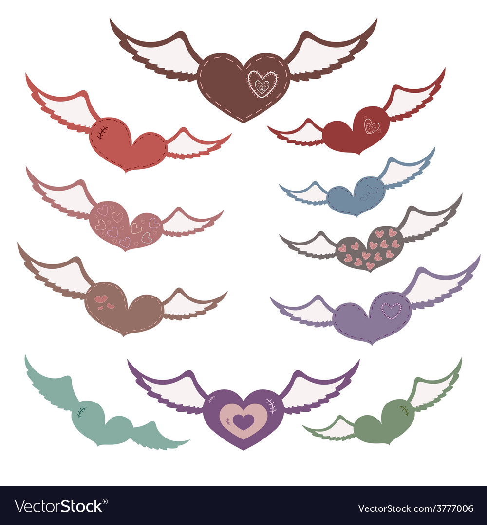 Many hearts with wings
