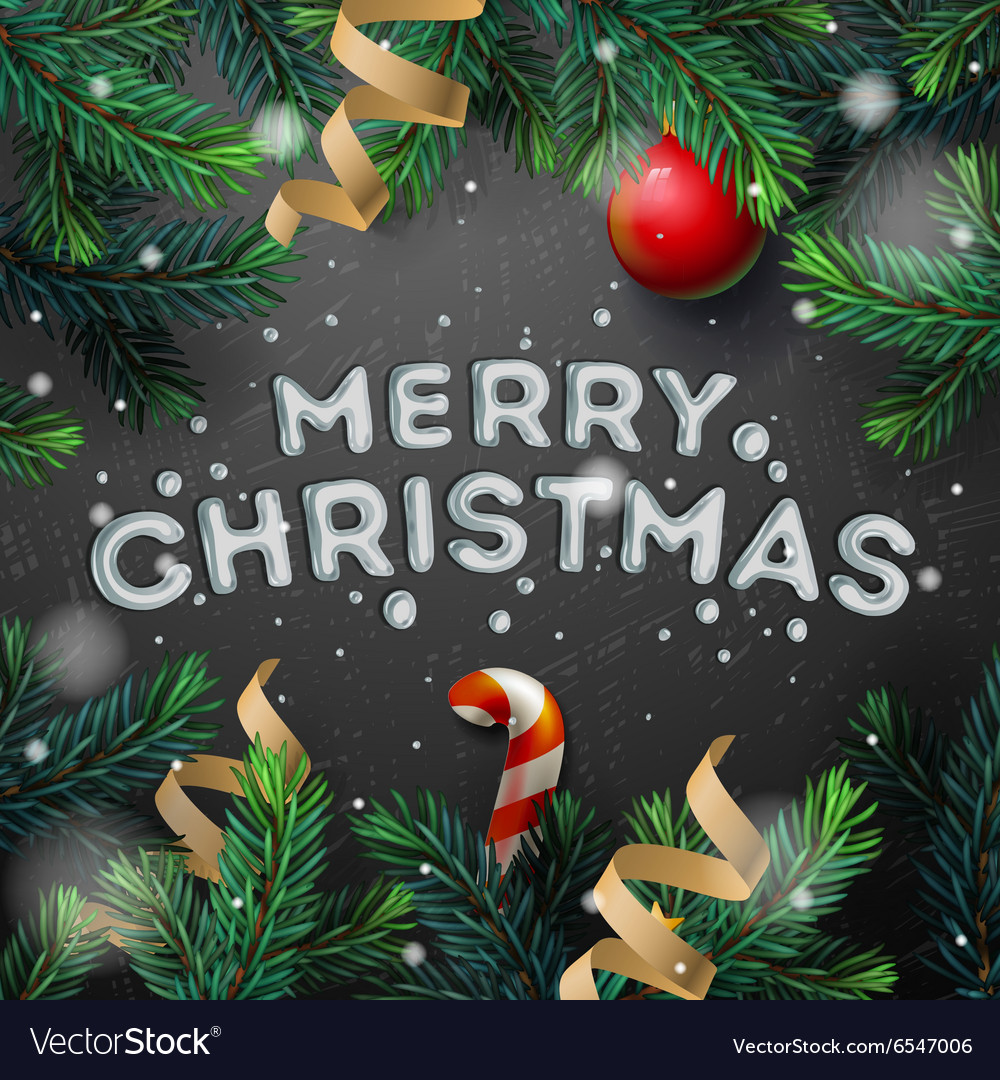 Merry Christmas greeting card with fir twigs