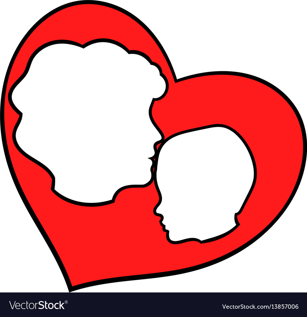 Mother and child inside heart icon icon cartoon