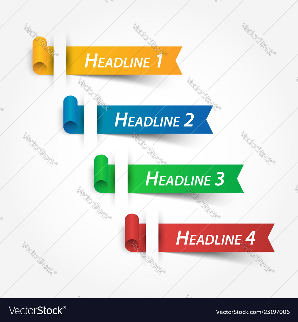 Multicolor ribbons use for fill your headline