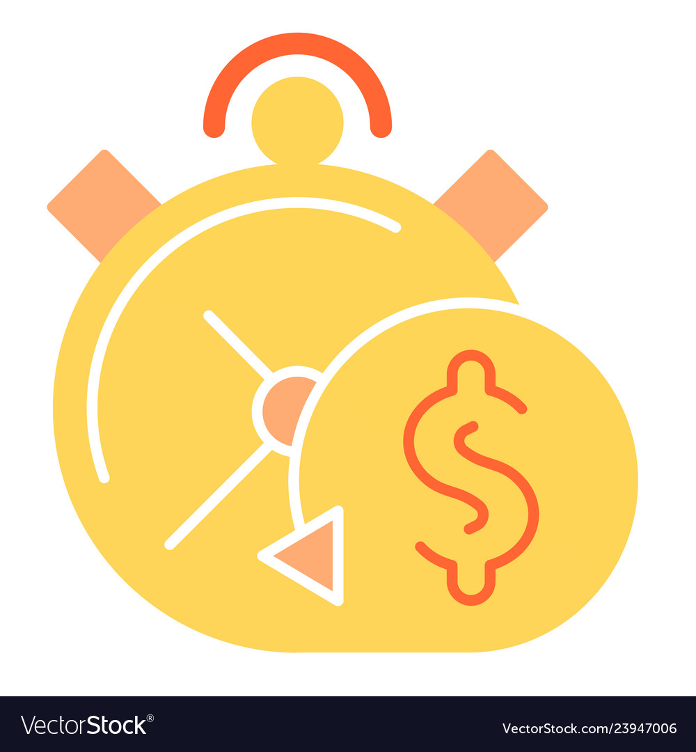 Timely payment flat icon alarm clock color icons