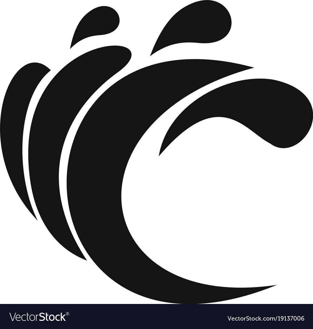 Wave water composition icon simple black style