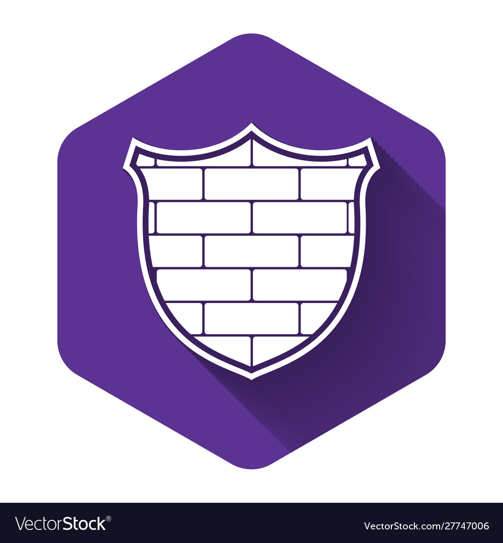 White shield with cyber security brick wall icon