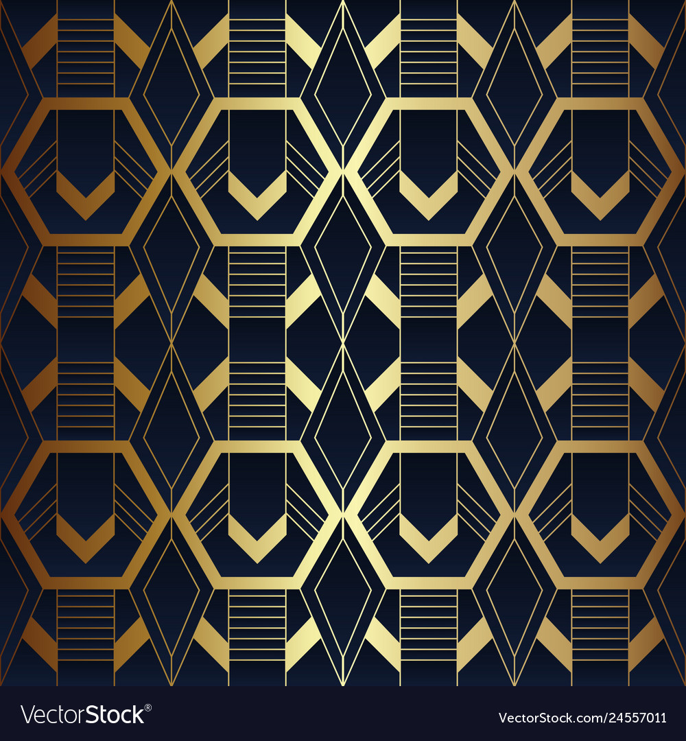 Abstract Art Seamless Blue And Golden Pattern 11