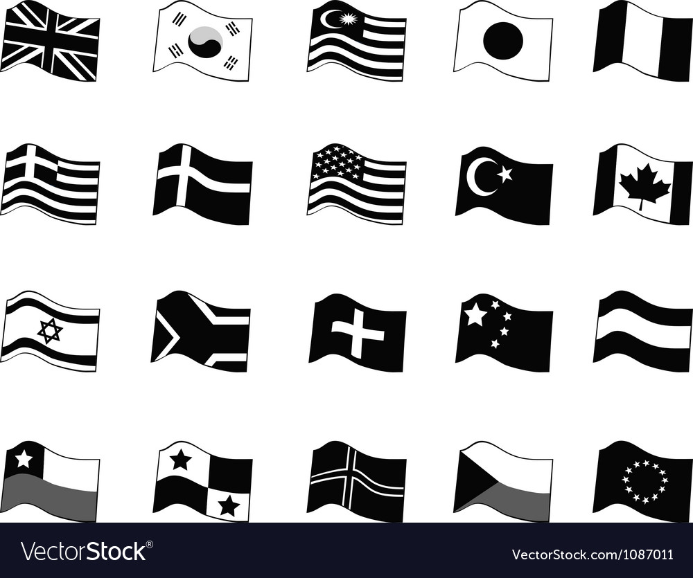 Black country flags icon set