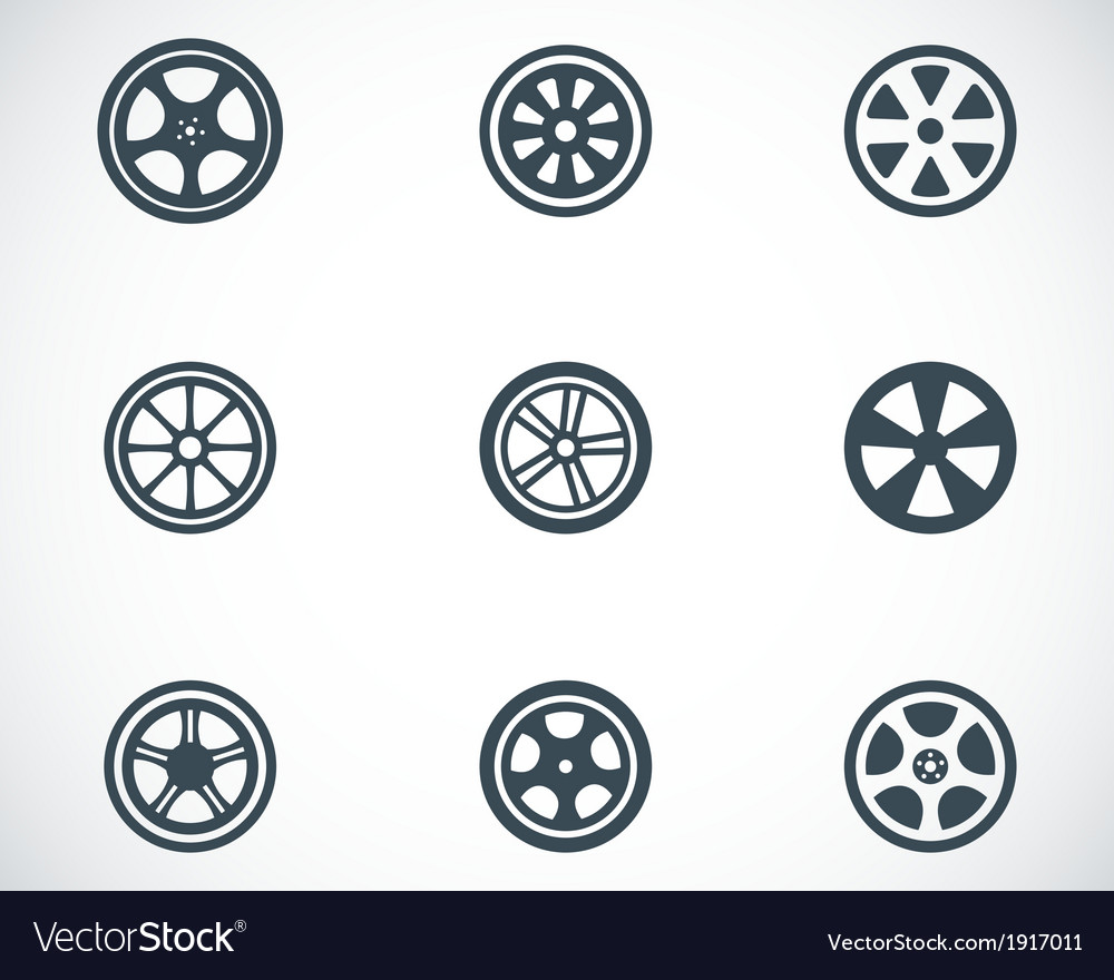 Black wheel disks icons set