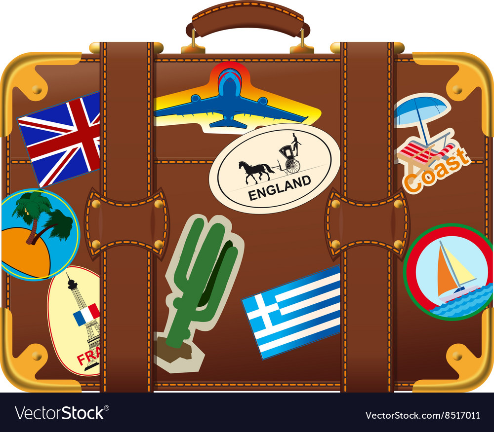 Brown suitcase with label vector image