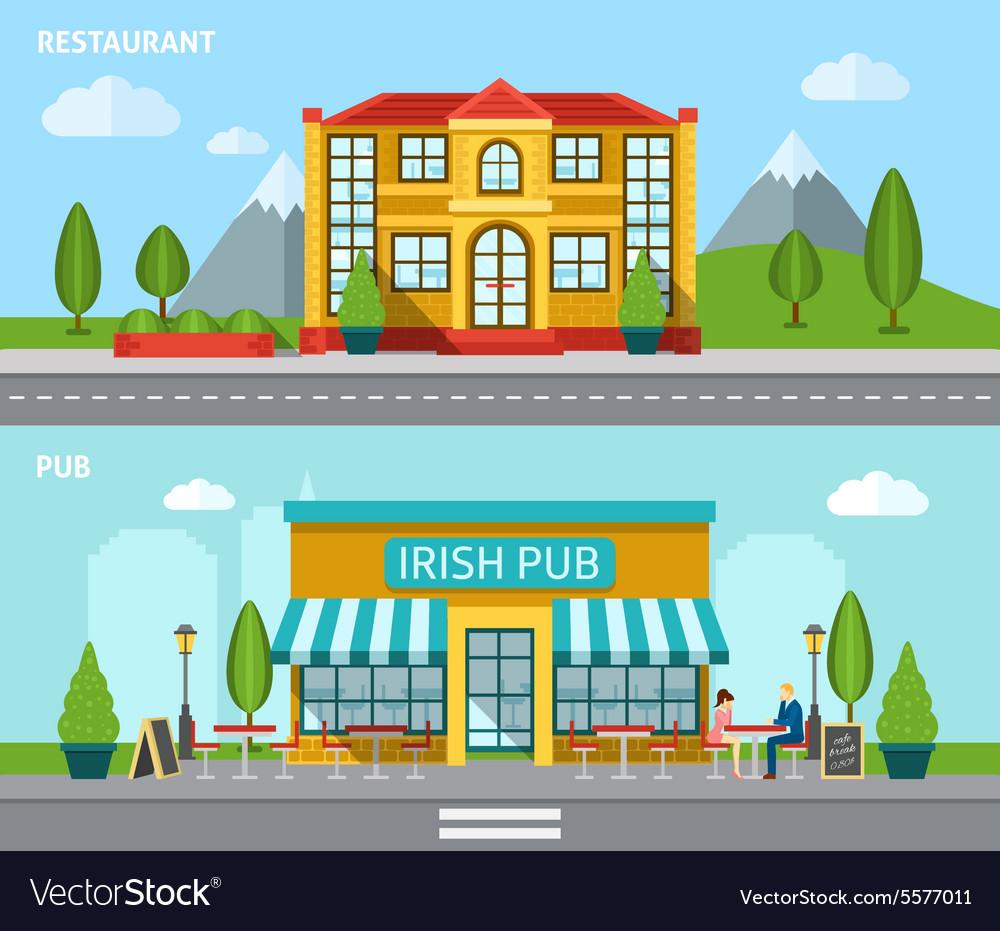 Cafe Flat Banner Set