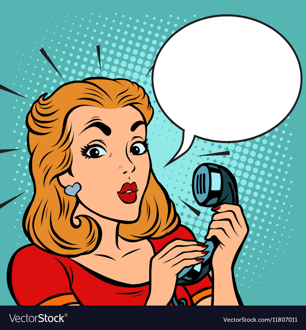 Comic girl talking on the phone vector image