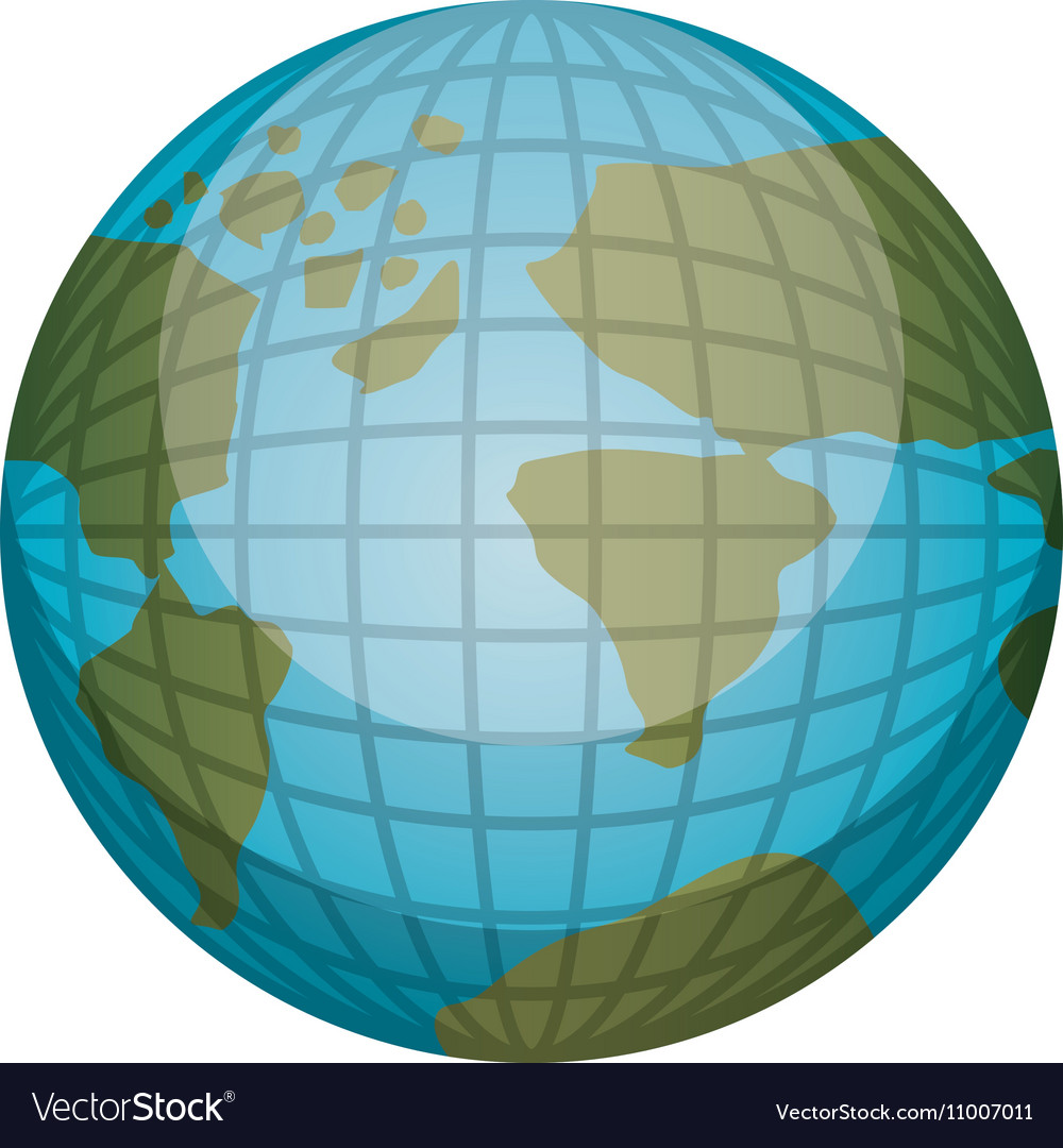 earth world map with continents in 3d royalty free vector
