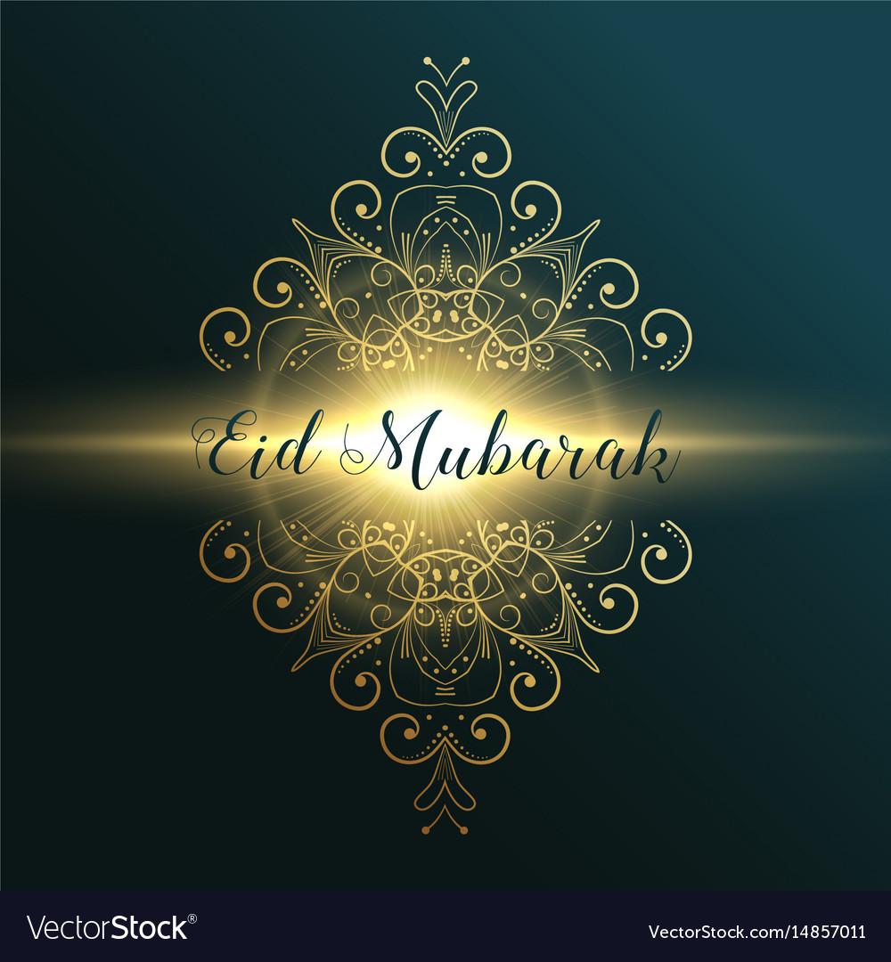 Eid Mubarak Muslim Festival Greeting Card Design Vector Image On Vectorstock