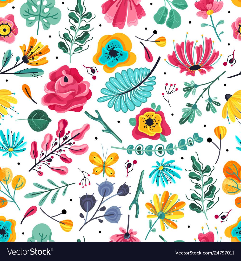 Floral seamless pattern spring summer garden