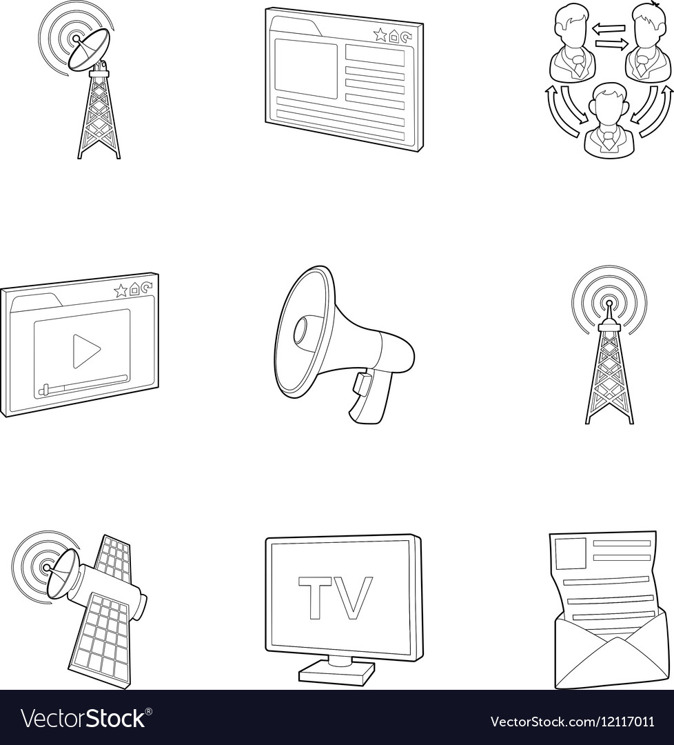 Internet icons set outline style