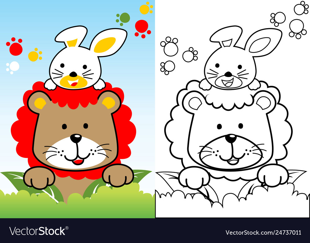 Lion And Rabbit Cartoon Coloring Book Page Vector Image Colorful decorative outline funny colorful lion standing in profile. vectorstock