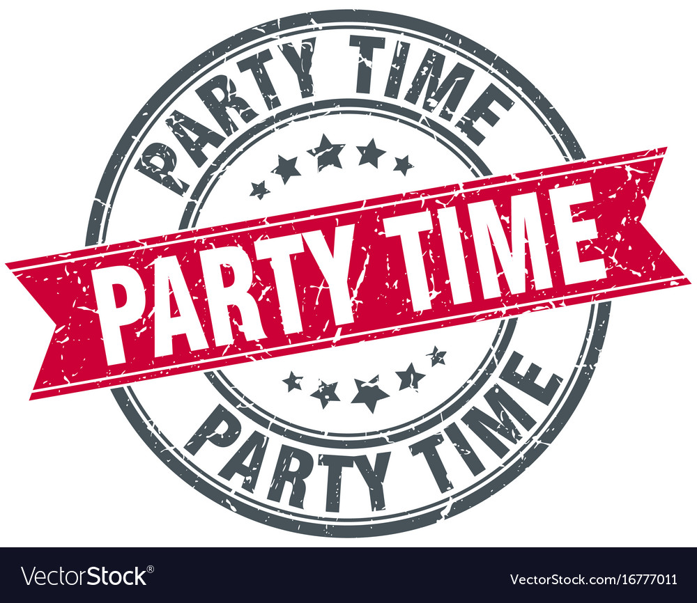 party time round grunge ribbon stamp royalty free vector