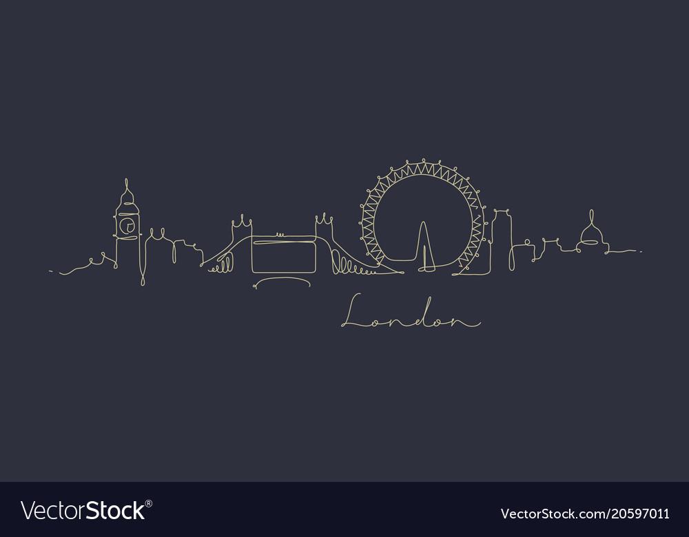 Pen line silhouette london dark blue