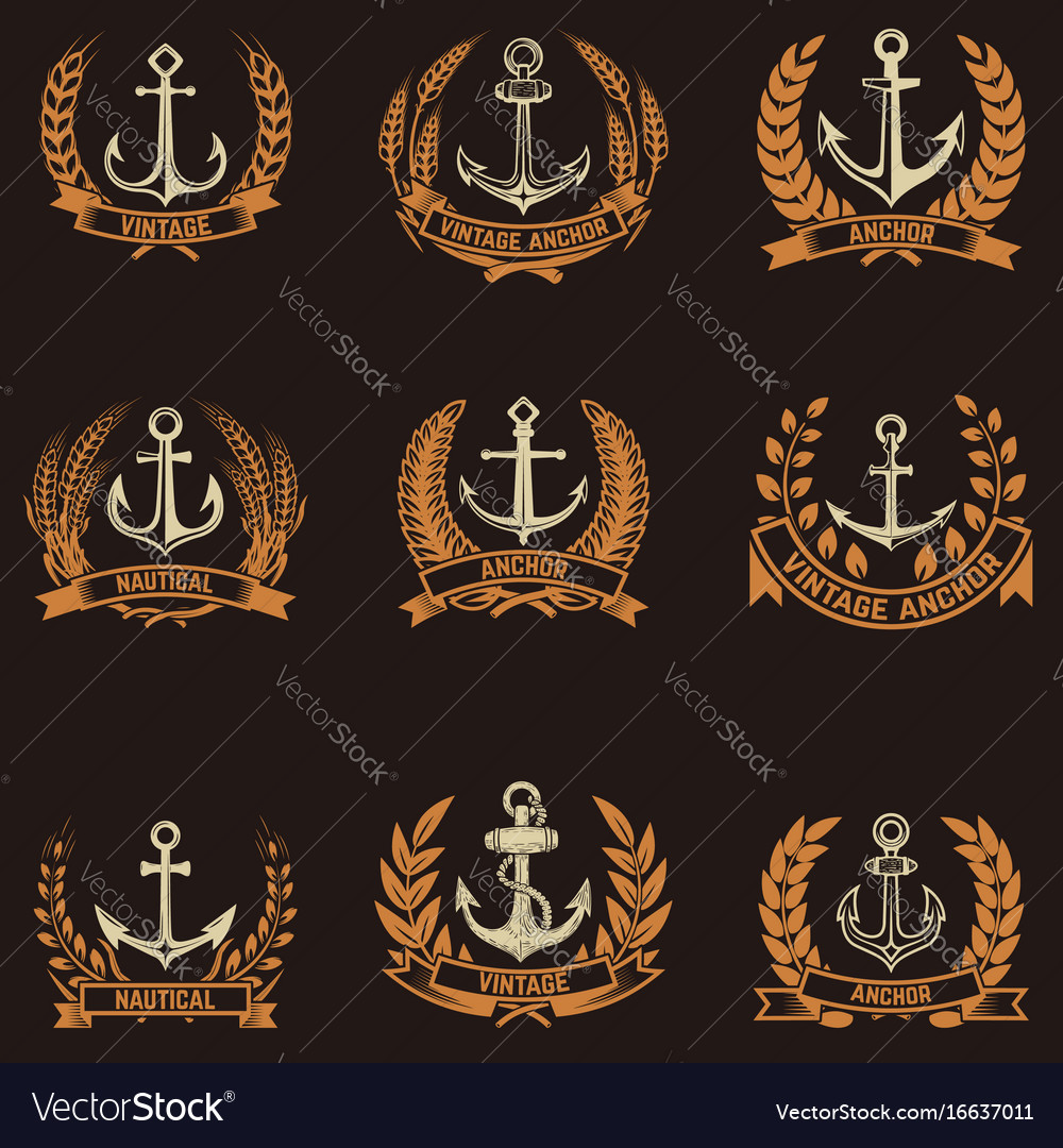 Set of the emblems with anchors and wreaths in