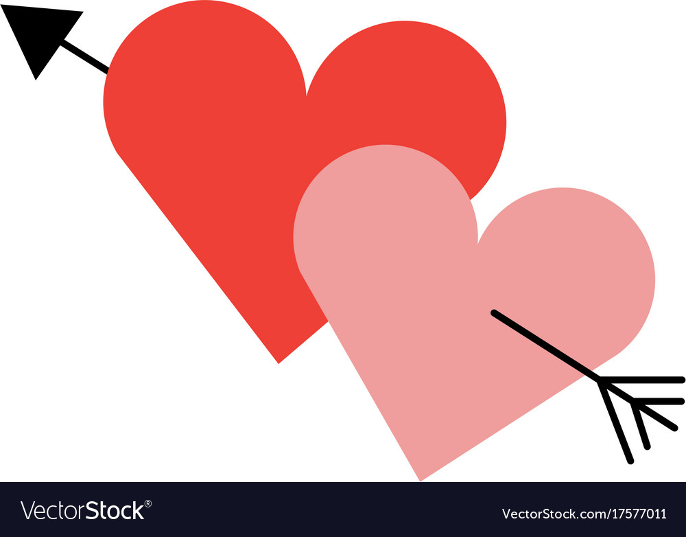 Two Love Hearts Romantic Cupid Valentine Image Vector Image