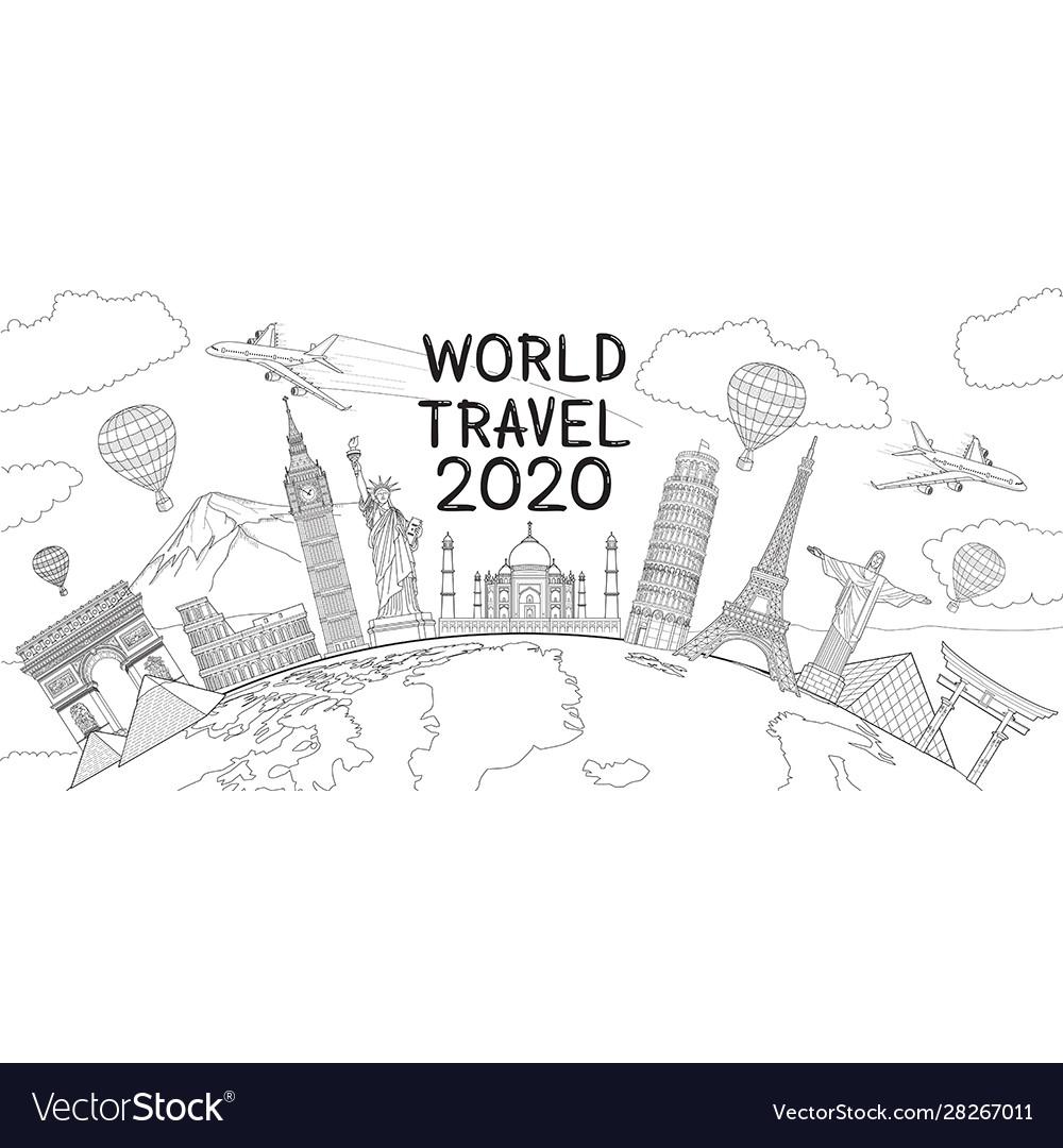 World travel landmark doodles style